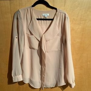 Calvin Klein ruffle blouse with roll up sleeves